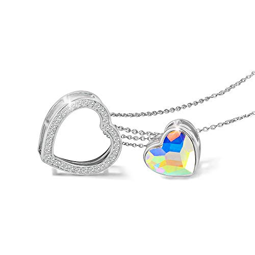 Kemstone 925 Sterling Silver Iridescent Crystal Double Embracing Heart Necklace Jewelry, 15.75