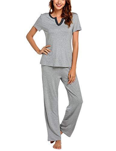 eed9fa10be6 BEAUSOM Women Pajamas Set Short Sleeve Top and Long Pajama Pants Sleepwear  Pjs Sets