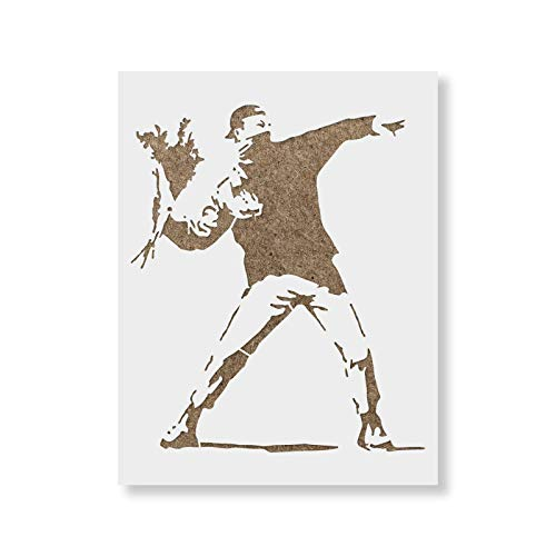 - Rage Flower Thrower Banksy Stencil for Walls and Crafts - Reusable Stencils of Flower Thrower by Banksy for Painting in Small & Large Sizes - Made in USA