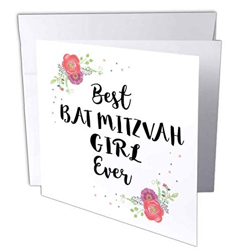 - 3dRose InspirationzStore - Love Series - Floral Best Bat Mitzvah Girl Ever Pink Flowers Cute Batmitzvah Gift - 12 Greeting Cards with envelopes (gc_316142_2)