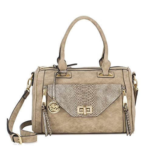 Snake Gold Handbag - Sonnet + Rose Women's Faux Leather Handbag Beige and Snake Print with Gold Metal Accents Ladies Tote