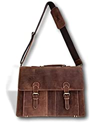 Brown Genuine Leather Briefcase - 18 Inch Handmade Full Grain Laptop City Bag for Men and Women | Adjustable 57...