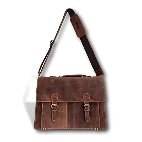 Handmade Brown Leather Messenger Bag Briefcase 18 Inch | Adjustable 57'' Strap and Zipper Laptop Bag for Men and Women | Kauri Design by Kauri Design