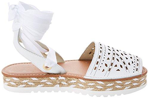 0 Miconos Blanc Menorquinas Blanc Plate blanc Femmes forme Sandales Les Popa qwxavpF