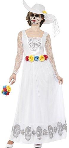 Ladies Day of The Dead White Longer Length Skeleton Bride Sugar Skull Carnival Halloween Fancy Dress Costume UK 8-22 (UK 12-14) -