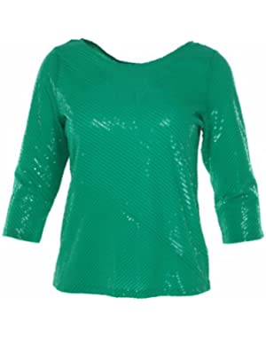Calvin Klein Women's Sequin 3/4 Sleeve Knit Top