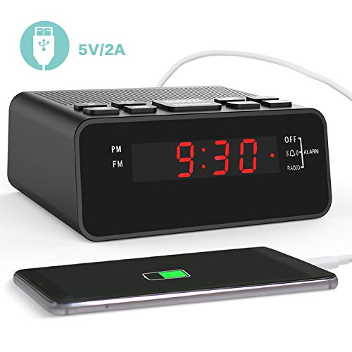 Clock Radios,FM Digital Alarm Clock Radio with USB Charger for Bedroom