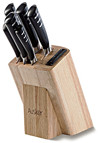 Ausker Kitchen Knife Set with Sharpener and Wood Block, Stainless Steel, 6 Kitchen Knives