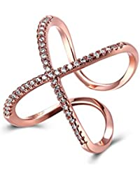 """Stainless Steel """"X"""" Criss-Cross Simple/Trend Eternity Ring Adjustable Free Size Infinity Ring 8 Shape"""
