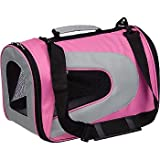 Pet Life Folding Zippered Sporty Mesh Carrier in Pink and Cream – Large