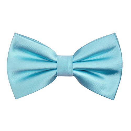 Alizeal Classic Pre-Tied Bow Tie Formal Solid Tuxedo Bowtie for Men (Light Blue) ()