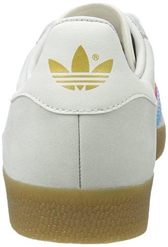 adidas Unisex-Erwachsene Gazelle Trainer Low Weiß (Vintage White/bright Cyan/shock Pink)