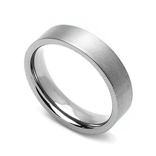 Custom Engraving 5MM Comfort Fit Titanium Wedding Band Classic Flat Promise Ring ()