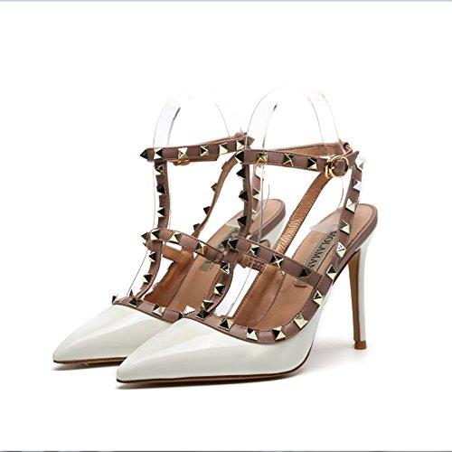 alto con VIVIOO Zapatos nocturno de White Remache Sandalias roja de correa mujer de Zapatos Fina club alto Zapatos tacón de Zapatos alto de de 6cm tacón del alto tacón verano tacón cFgU04rSF