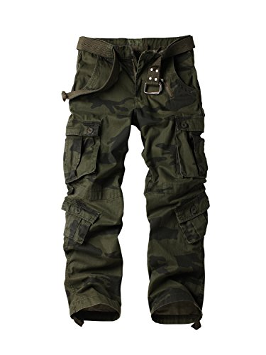Must Way Men's Cotton Casual Military Army Cargo Camo Combat Work Pants with 8 Pocket F Camo 40