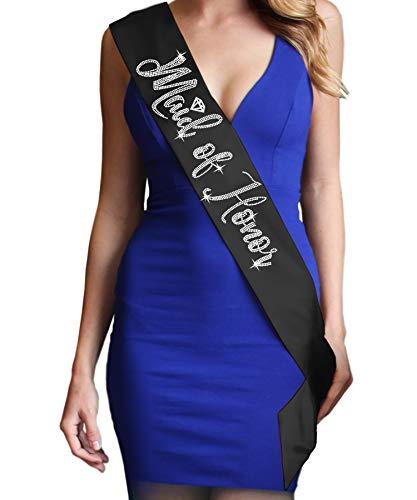 (Maid Of Honor Diamond Rhinestone Satin Sash - Maid Of Honor Bachelorette Party Decorations - Black)