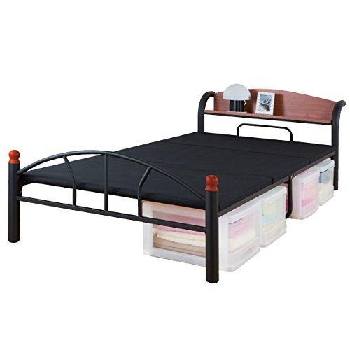 ファミリーライフ 木製棚付きパイプベッドセミダブル121cm幅ブラック0269010 B00QUWYA76 ブラック セミダブル