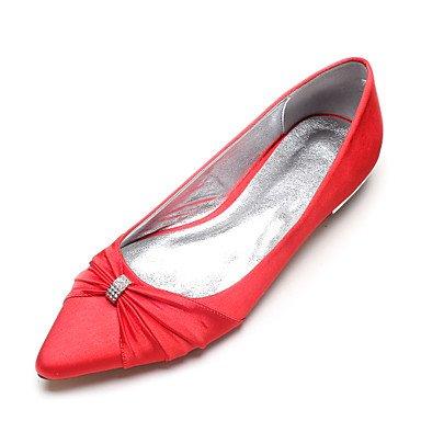 RTRY Las Mujeres'S Wedding Shoes Confort Satin Primavera Verano Boda Vestido De Noche &Amp; Rhinestone Bowknot Champán Heelivory Plana Rubí Azul US8.5 / EU39 / UK6.5 / CN40