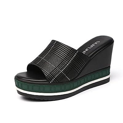 SFSYDDY Pantoufles Summer Pente Fond Épais Des Résistants Usure Wild Traînée Des Chaussures À Talons De 10 Cm Super Chaussures.