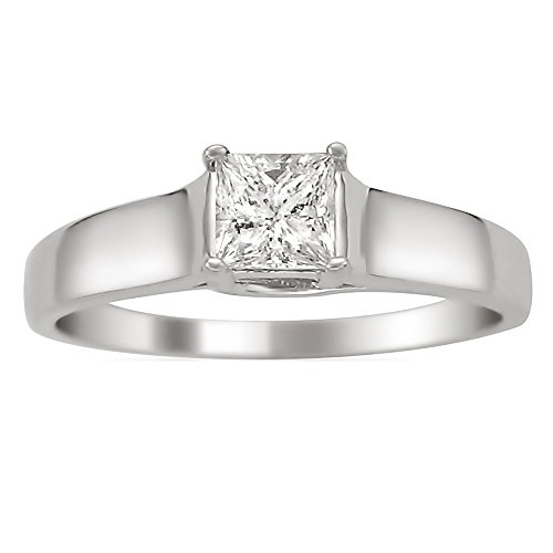 14k White Gold Princess-cut Solitaire Diamond Engagement Wedding Ring (1/3 cttw, I-J, I2-I3), Size 4.5