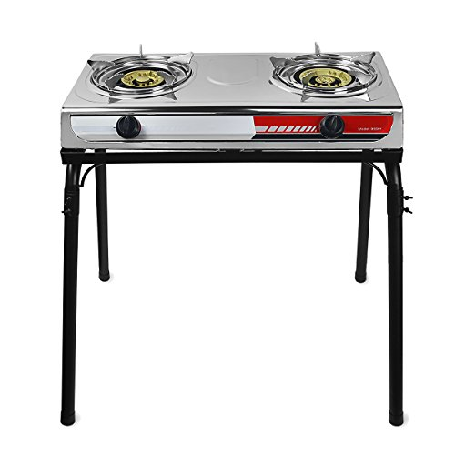(XtremepowerUS Portable Propane Gas Range 2-Burner Stove Auto Ignition Outdoor Grill Camping Cooktop Stoves Tailgate LPG w/Stand)