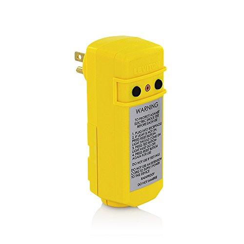 Right Manual - Leviton 16694 15-Amp 120-volt Manual Reset Right-Angle GFCI Plug