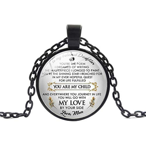 (vmree You are My Child Glass Dome Letter Picture Pendant Necklace Heart-Warming Jewelry Charm Pendant Collarbone Chain Ideal Jewelry Gift Clothing Accessories (Black))