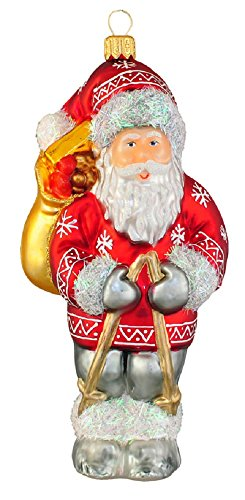 Nordic Santa Ornament (Nordic Walking Santa with Ski Pole Polish Glass Christmas Tree Ornament Poland)