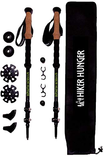 Trekking Lock Poles - Hiker Hunger 100% Carbon Fiber Trekking Poles – Ultralight & Collapsible with Quick Flip-Lock, Cork Grips, Tungsten Tips