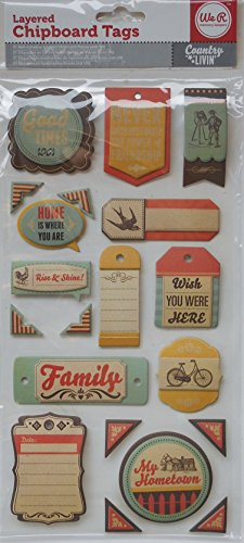 We Are Memory Keepers Layered Chipboard Tags - Country Livin' (Tags Chipboard Layered)
