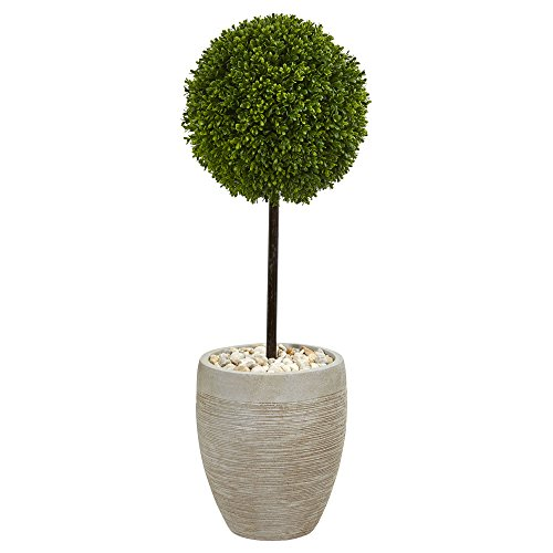 Nearly Natural Boxwood Ball Topiary in Oval Planter, 3' (3 Ball Topiary)