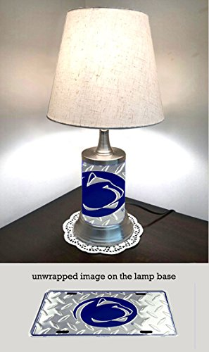 - JS Table Lamp with Shade, Penn State Nittany Lions Plate Rolled in on The lamp Base, Base Wrapped with Diamond Metal Plate