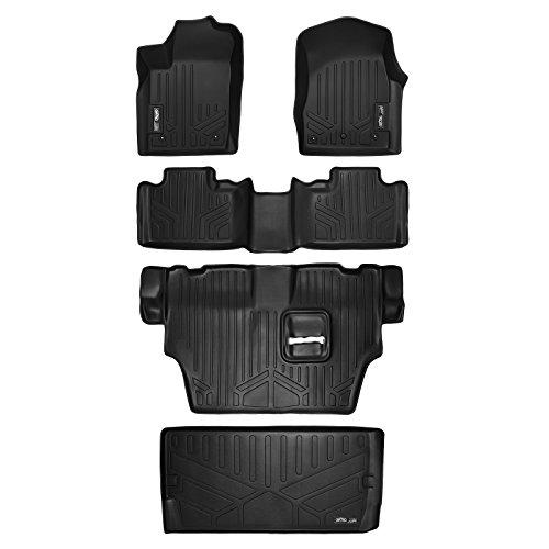 MAXFLOORMAT Floor Mats 3 Row Set (Bench Seats) and MAXTRAY for Dodge Durango (Behind Third Row) (2013-2017) Black