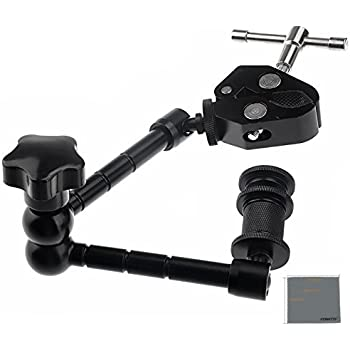 "Fomito 11"" Inch Articulating Magic Arm + Super Clamp for Camera, LCD Monitor , LED Video Light"