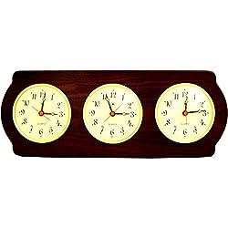 Bey-Berk International Brass Multi Zone Clock on Ash Wood with 3 Brass Plates - Tarnish Proof