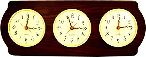 Bey-Berk International Brass Multi Zone Clock on Ash Wood with 3 Brass Plates - Tarnish Proof by Bey-Berk