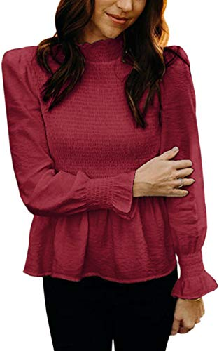 ECOWISH Women's Turtleneck Ruffle Long Pagoda Sleeve Shirts Blouse Tops Wine Red M (Outdoor Designs Pagoda)