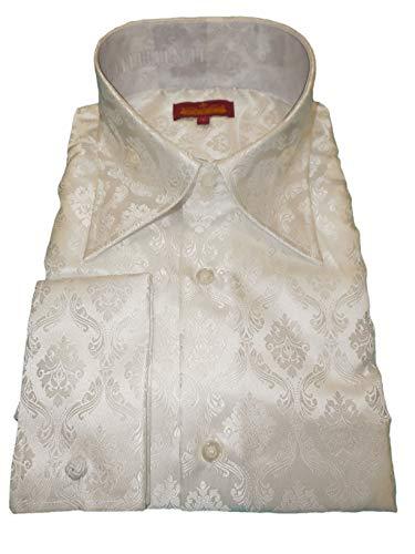 - SANGI 1011 Mens White Shimmer Elegant Damask High Collar Cuffed Shirt (3XL)
