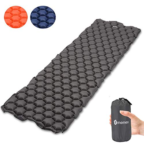 Omeneex Sleeping Pad Compact Inflatable Air Pad Ultralight(14.5OZ) Comfortable Construction for Backpacking,Hiking,Camping,Kayak & Canoe Touring (Grey)
