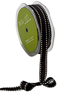 May Arts 1/2-Inch Wide Ribbon, Black Grosgrain with White Stitches