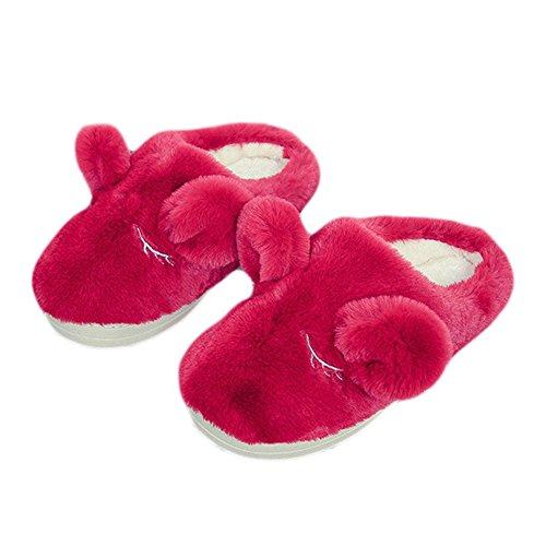 Cybling Hiver Mignonne Pantoufle En Peluche Anti-dérapant Confortables Chaussures De Maison Pour Les Femmes Rouge