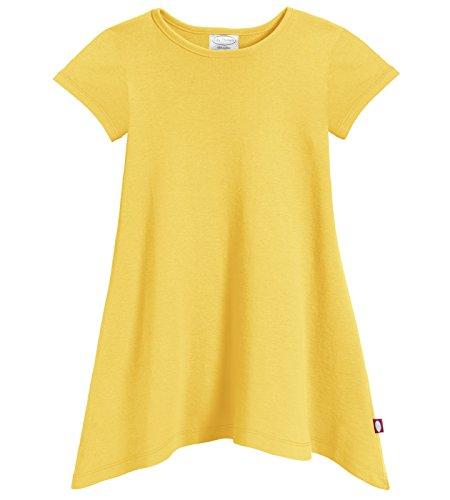 City Threads Girls' Shark Bite Short Sleeve Tunic Top Blouse Shirt Stylish Modern All Cotton For Sensitive Skins SPD Sensory Friendly, Yellow, - Yellow T-shirt Bite