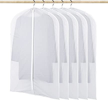 Paquete de 5 cubiertas de ropa, Sunbeter PEVA cubiertas de prendas de vestir transparentes Funda de traje con cremalleras Bolsa de almacenamiento de ...
