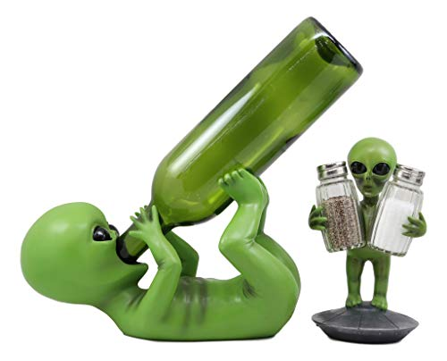 Ebros Area 51 ET Green Roswell UFO Alien Wine Holder and Salt Pepper Shakers Holder Figurine Set Extra Terrestrial Outer Space Colony Themed Kitchen and Dining Party Decor Statues Science Fiction