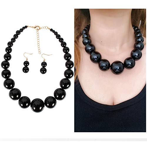 Lucky House Fashion Big Faux Pearl Strands Necklace Earrings for Women 22