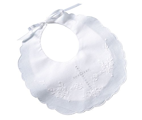 Lillian Rose Cotton Christening Baby Bib, White, 8.5