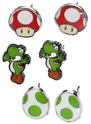 [해외]닌텐도 슈퍼 마리오 브라더스 요시 에그와 레드 버섯 메탈 스터드 귀걸이 3 쌍 세트 멀티 컬러 Js201605ntn / Nintendo Super Mario Bros. Yoshi Egg And Red Mushroom Metal Stud Earrings 3 Pair Set Multi-colour Js201605ntn