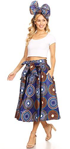 (Sakkas 16321 - Celine African Dutch Ankara Wax Print Full Circle Skirt - 423-BlueMulti - OS )