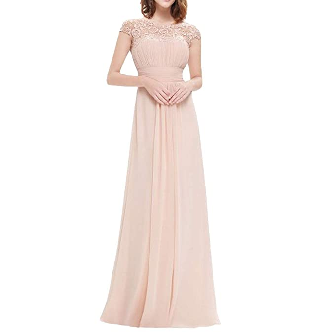 Opeer Fashion Women Lace Evening Dresses Floral Formal Vintage Short Sleeve Elastic Waist Wedding Evening Maxi