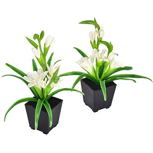 (Shiny Flower Artificial Tuberose Flower Plant, Fake Potted Tuberose Plants, with White Blooms in Matt Black Pot, for Home, Office, Indoor and Outdoor Occasions Decor (Pack of 2) )
